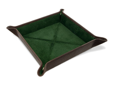 Brown Calf Leather with Dark Green Suede Travel Tray