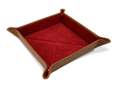 Tan Calf Leather with Red Suede Travel Tray