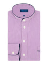 Classic Nightshirt in a Purple Small Check Poplin Cotton with Navy Piping