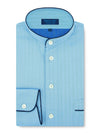 Classic Nightshirt in a Plain Blue Herringbone Cotton with Navy Piping