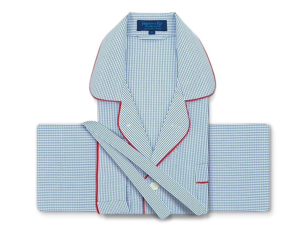 official photos 6b30d d1307 Classic Pyjamas in a Navy & White Classic Check Poplin Cotton with Red  Piping