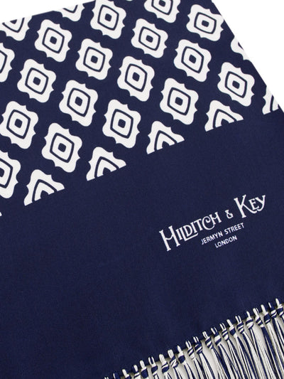 Navy & White Reversible Silk Scarf