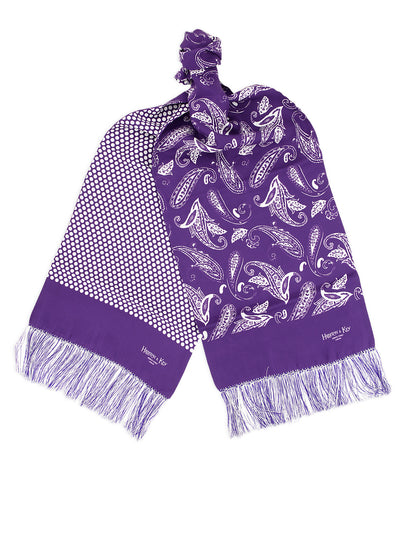Purple & White Reversible Silk Scarf