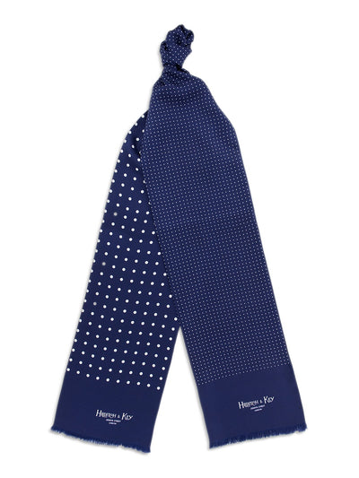 Navy with White Spots Silk Tubular Scarf