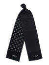 Black with White Spots Silk Tubular Scarf