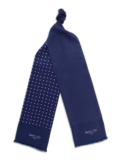 Navy with Lilac Spots Silk Tubular Scarf