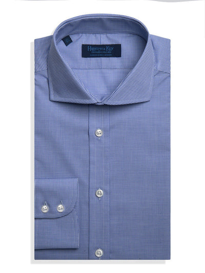 Classic Fit, Cutaway Collar, 2 Button Cuff Shirt in a Blue & White Shepherds Check Poplin Cotton