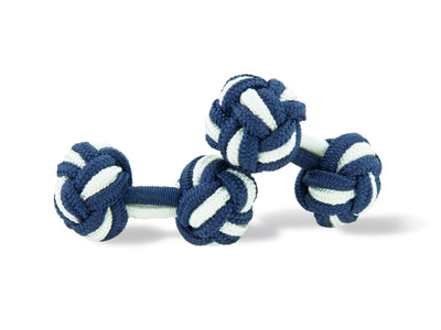 Navy Blue & White Knot Links
