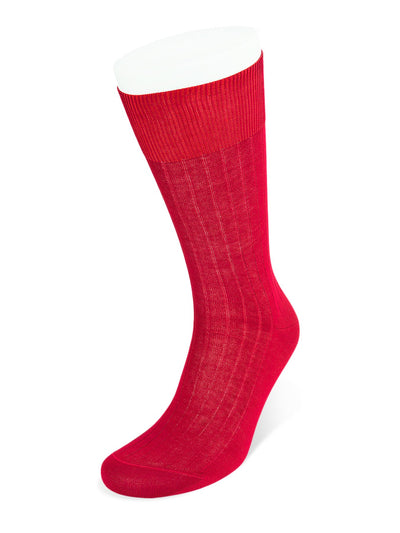 Short Plain Deep Red Cotton Socks