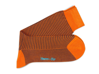 Short Orange & Navy Houndstooth Cotton Socks