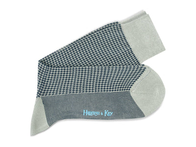 Short Grey & Navy Houndstooth Cotton Socks