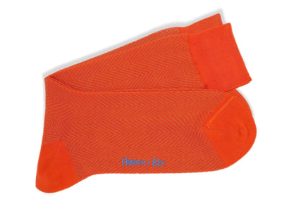 Short Orange Herringbone Cotton Socks