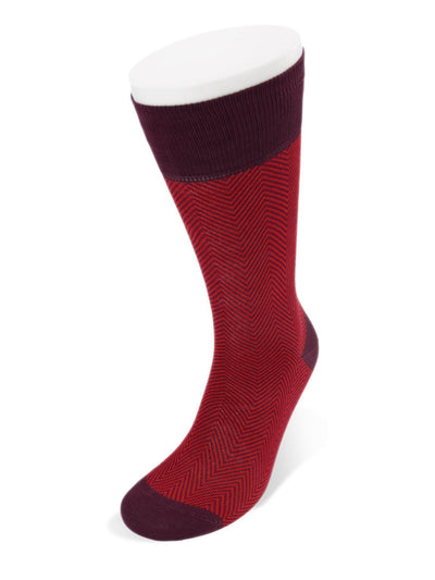 Short Dark Red Herringbone Cotton Socks