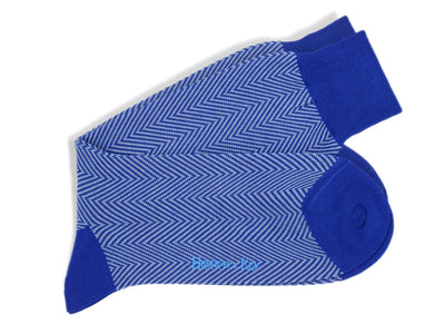 Short Royal Blue Herringbone Cotton Socks
