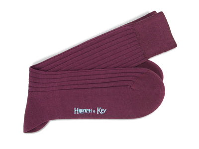 Short Plain Dark Red Cotton Socks