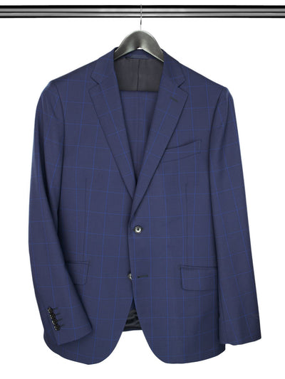 2 Piece, Blue Checked Single Breasted Suit