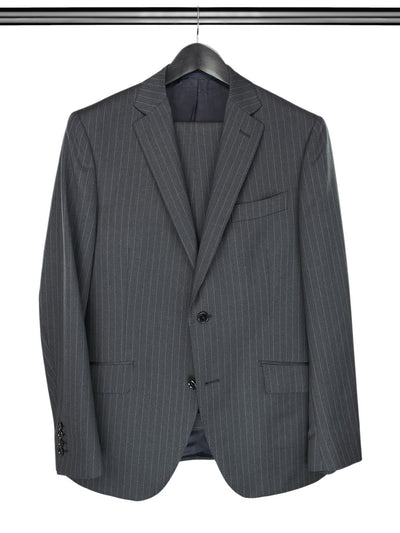 2 Piece, Grey Pinstripe Single Breasted Suit