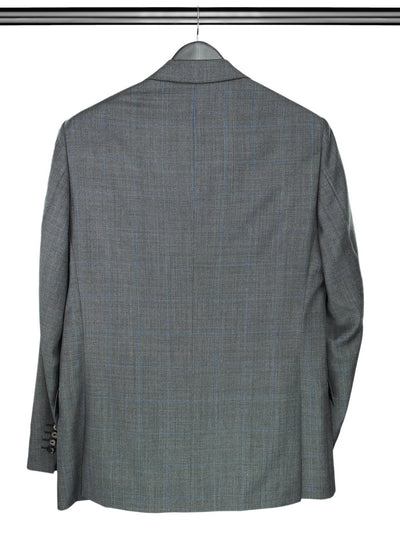 2 Piece, Grey & Blue Overcheck Single Breasted Suit