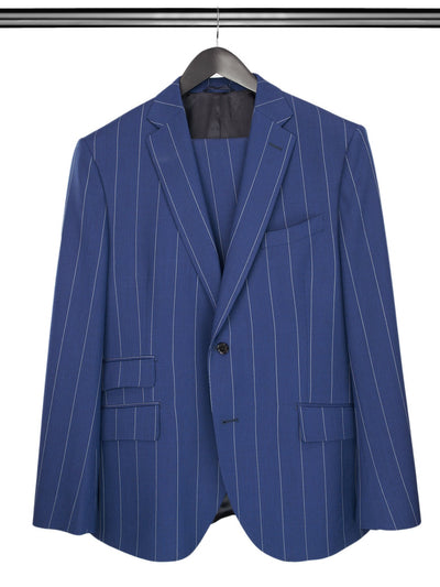 2 Piece, Navy & White Chalk Stripe Single Breasted Woollen Suit