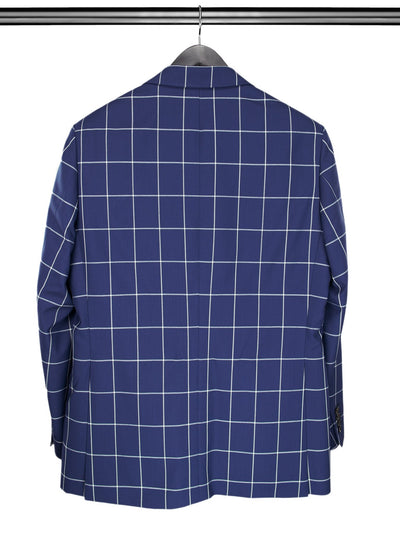 2 Piece, Navy & White Large Checked Single Breasted Woollen Suit