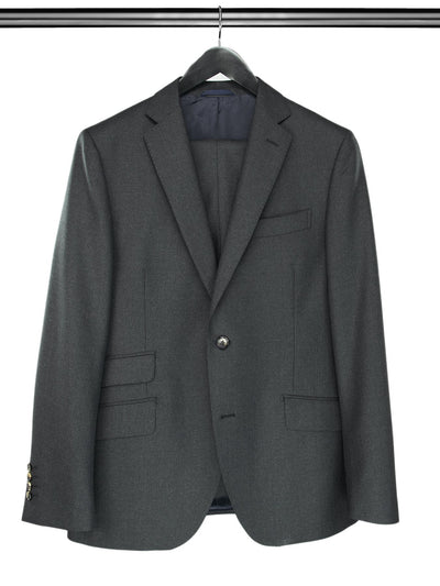 2 Piece, Plain Grey Single Breasted Suit