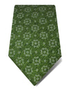 Green Woven Cotton & Silk Tie with White Abstract Pattern