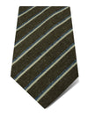 Brown Woven Cotton & Silk Tie with Blue & White Stripes