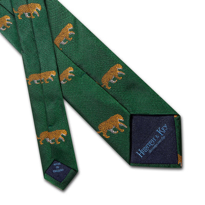 Big Cat Sanctuary Leopard Woven Silk Tie In Green