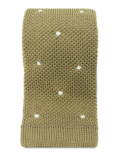 Taupe Knitted Silk Tie with White Spots