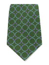 Green Printed Silk Tie with Purple & Lilac Circles