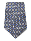 Grey with Blue & White Floral Printed Silk Tie