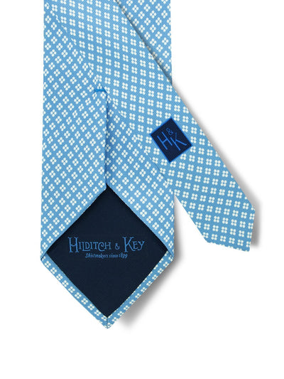 Sky Blue Printed Silk Tie with White Neat Spots