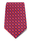Red with Navy Links Printed Silk Tie