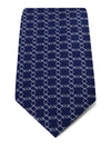 Navy with Silver Diamonds Printed Silk Tie
