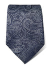 Navy Silk Tie with White Paisley