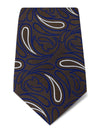 Brown with Navy & White Paisley Woven Silk Tie