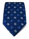 Navy Woven Silk Tie with Blue & White Broken Stripes