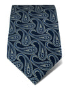 Navy Woven Silk Tie with White Large Paisley