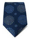 Navy Woven Silk Tie with Blue & Grey Abstract Circles