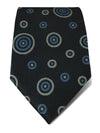 Grey Woven Silk Tie with Blue & White Circles