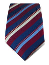 Red Woven Silk Tie with Blue, White & Navy Stripes