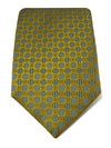 Yellow Woven Silk Tie with White & Blue Circles