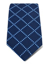 Navy Woven Silk Tie with White Dotted Grids
