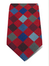 Red Woven Silk Tie with Blue & Grey Large Check