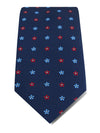 Navy Woven Silk Tie with Blue, Red & White Small Flowers
