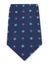 Navy Woven Silk Tie with Blue, Purple & White Small Flowers