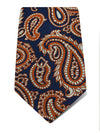 Navy Woven Silk Tie with White & Rust Large Paisley