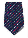 Navy Woven Silk Tie with Red & White Dotted Stripes