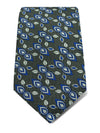 Grey Woven Silk Tie with Royal Blue & White Diagonal Flowers