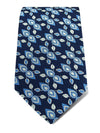 Navy Diagonal Flowers Woven Silk Tie